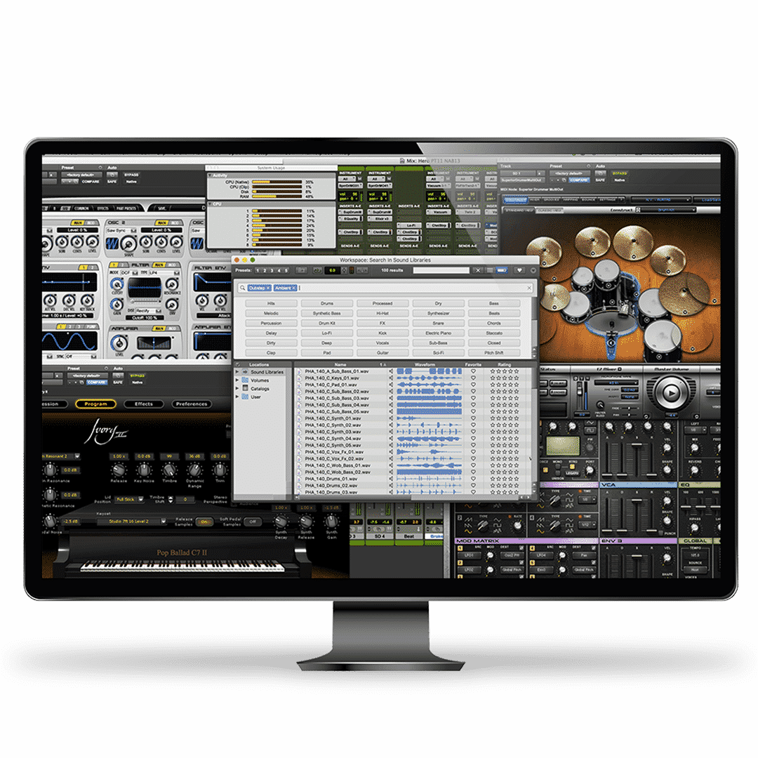Logiciel de musique Pro Tools - DAW - dashboard